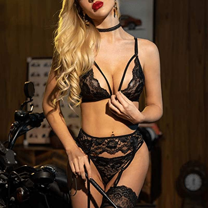Sexy Goth Lingerie Set With Garter Belts