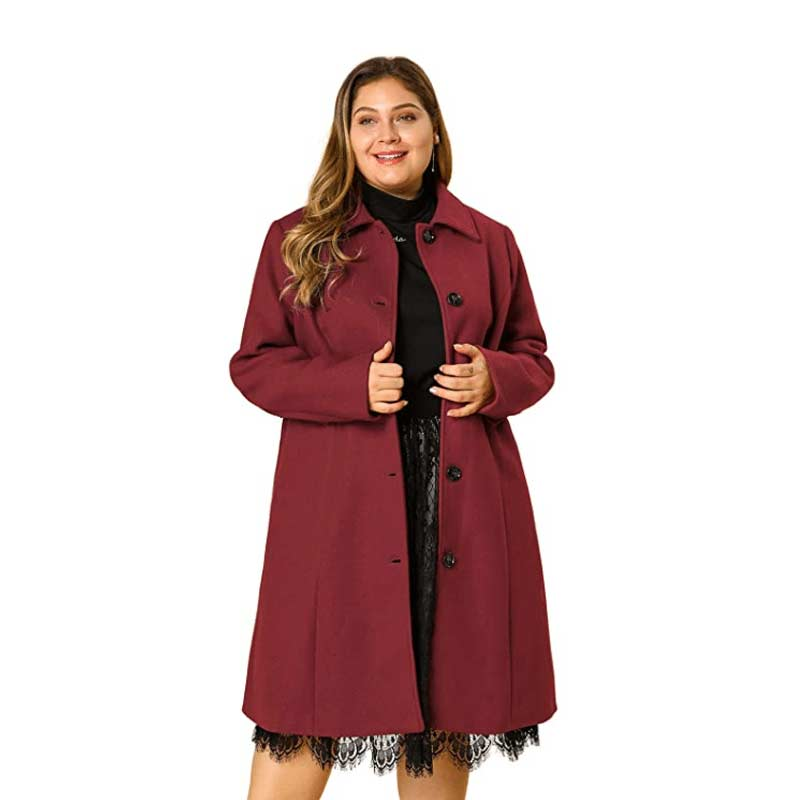 Plus Size Single Breasted Belted Long Coat