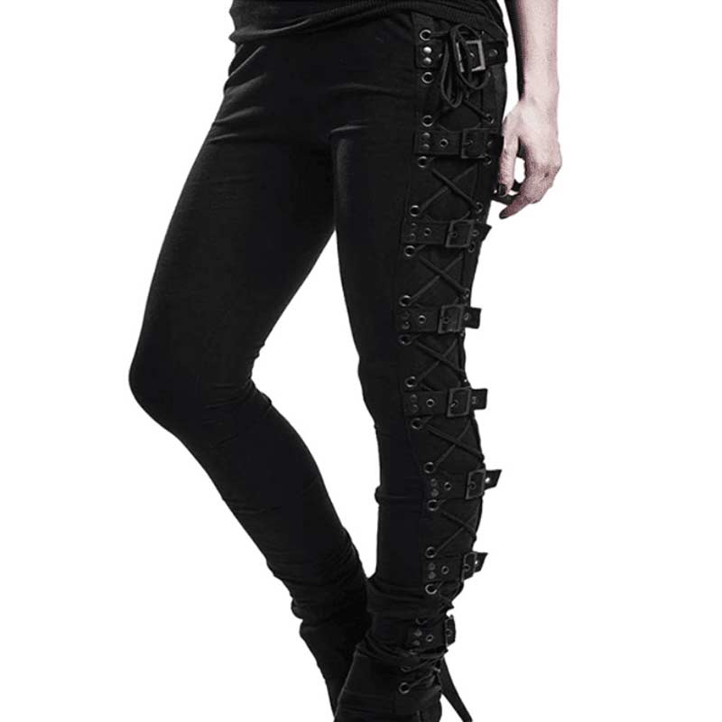 Gothic Lace Up Buckle Leggings - Available in Plus Size