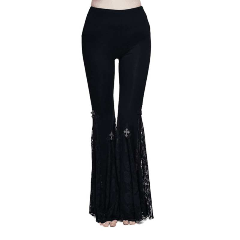 Gothic Sexy Lace Flare Pants
