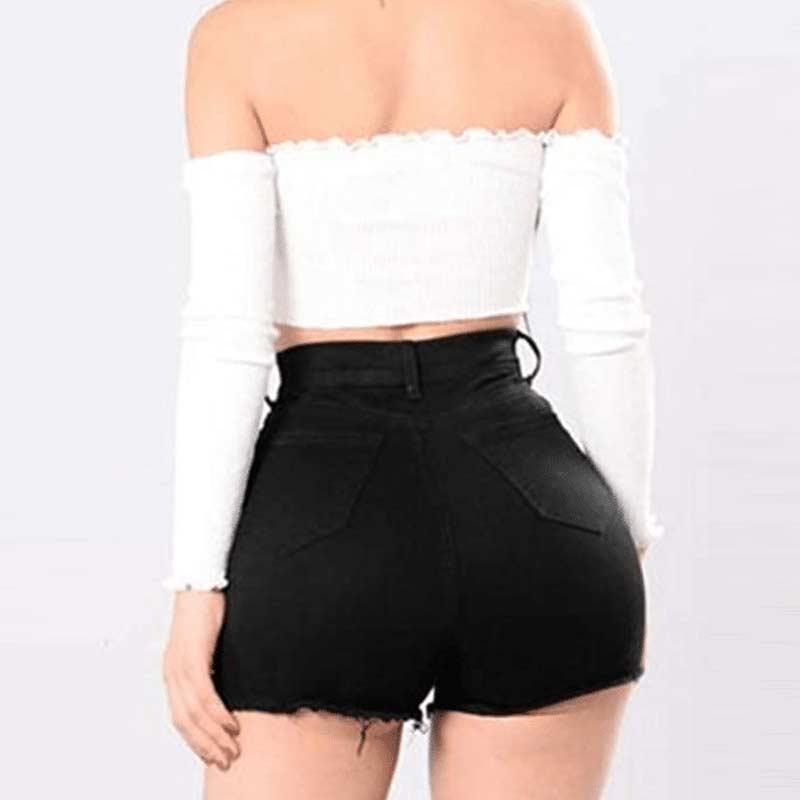 High Waist Butt Lifting Distressed Denim Shorts
