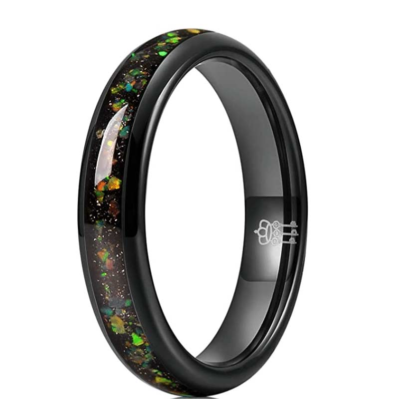 Fire Created Opal Inlay Tungsten Ring
