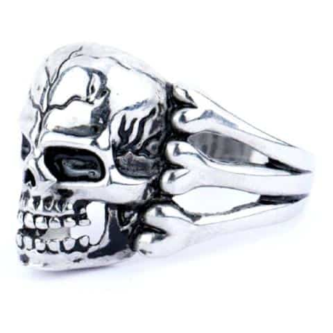 Cool Silver Plated Guys Skeleton Rings-8