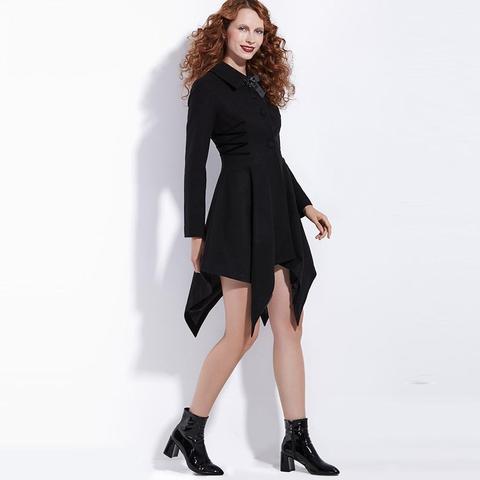 hot asymmetrical black bowknot coat black