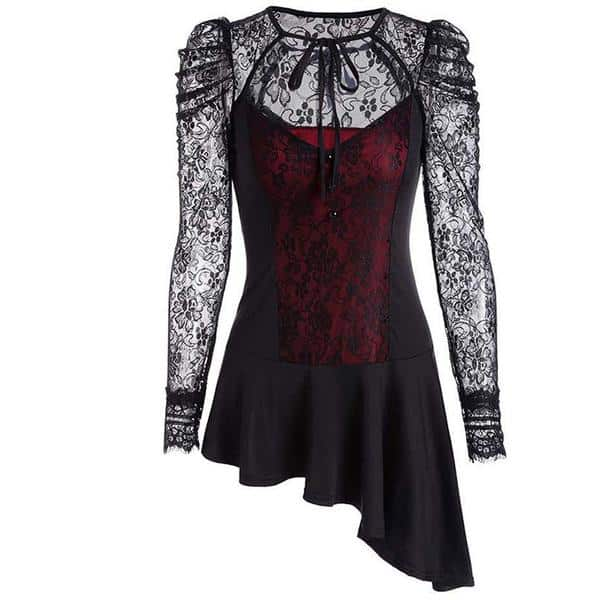 vintage slanted red and purple lace top for women red