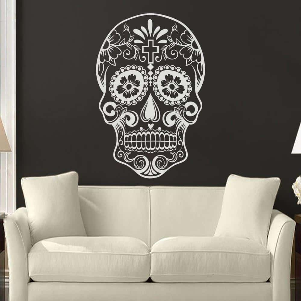 Alternative Floral Skeleton Face Decoration - The Black Ravens