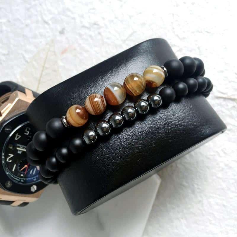 Beaded Gemstone Bracelets For Men - The Black Ravens