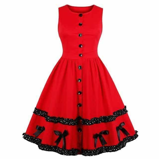 Beautiful Block Lace Sweet Red Dress - The Black Ravens