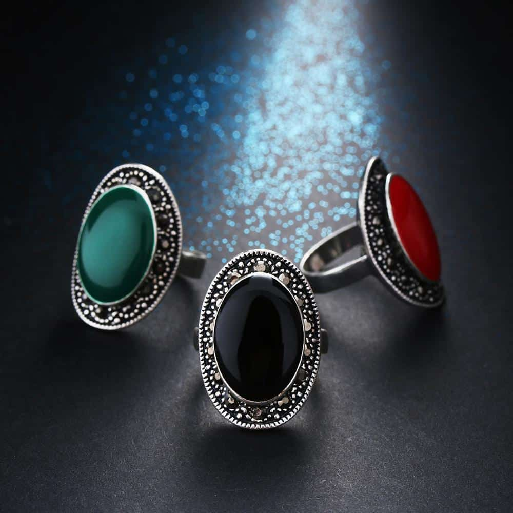 Beautiful Real Silver Gothic Gem Rings For Women - The Black Ravens