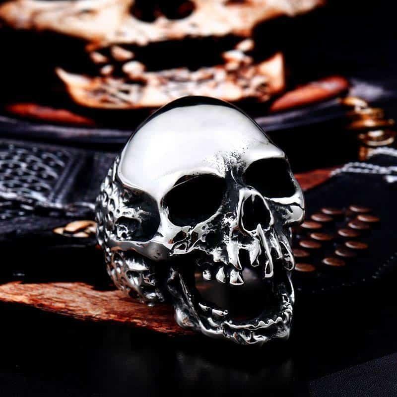 Big Biker Skull Stainless Steel Rings - The Black Ravens