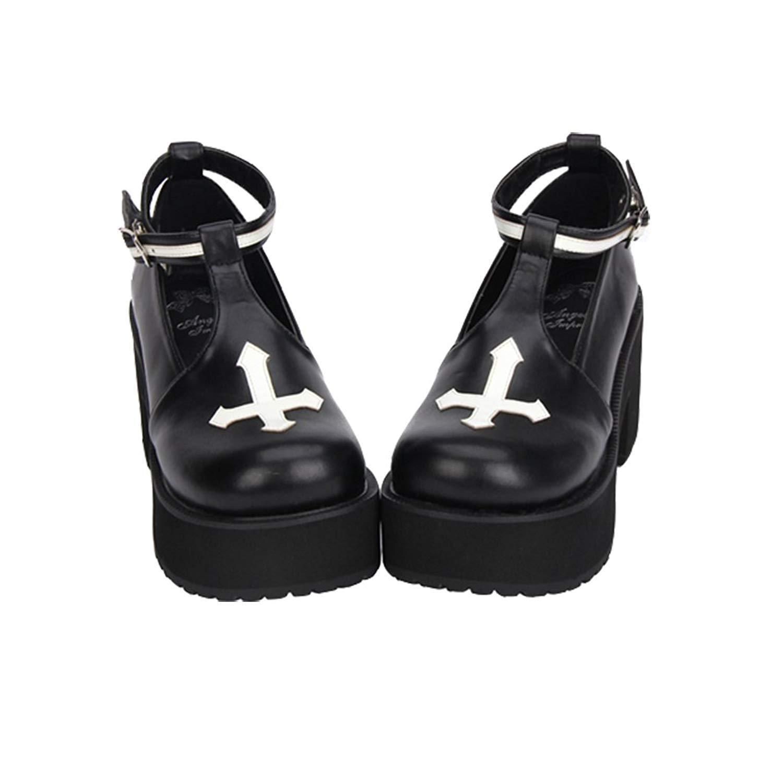 Black and White Cross Gothic Lolita Shoes - The Black Ravens