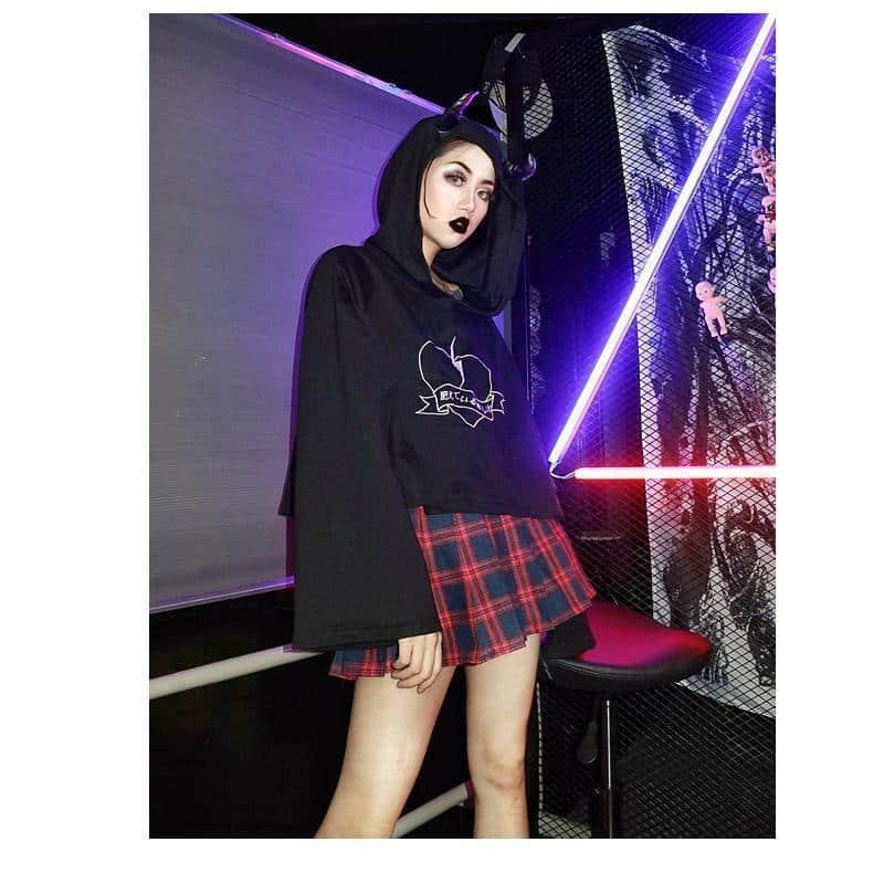 Black Devil Ladies Punk Hoodie - The Black Ravens