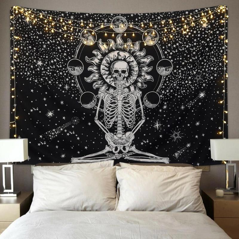 Blissful Skeleton Tapestry - The Black Ravens