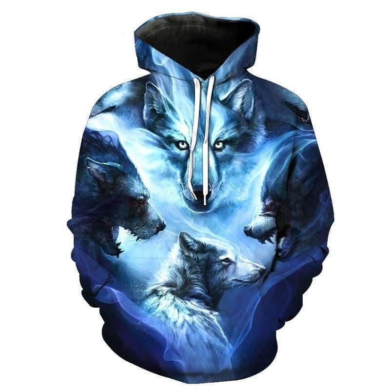 Blue Arctic Wolf Rocker Hoodie - The Black Ravens