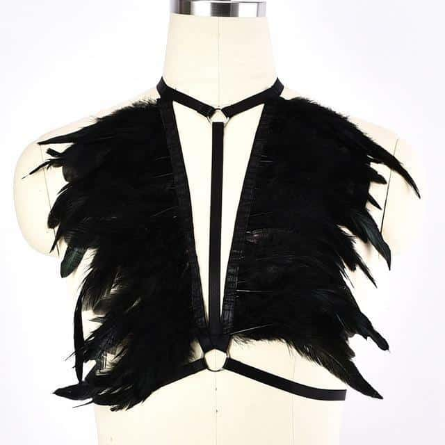 Bold Feathers Sexy Halter Harness - The Black Ravens