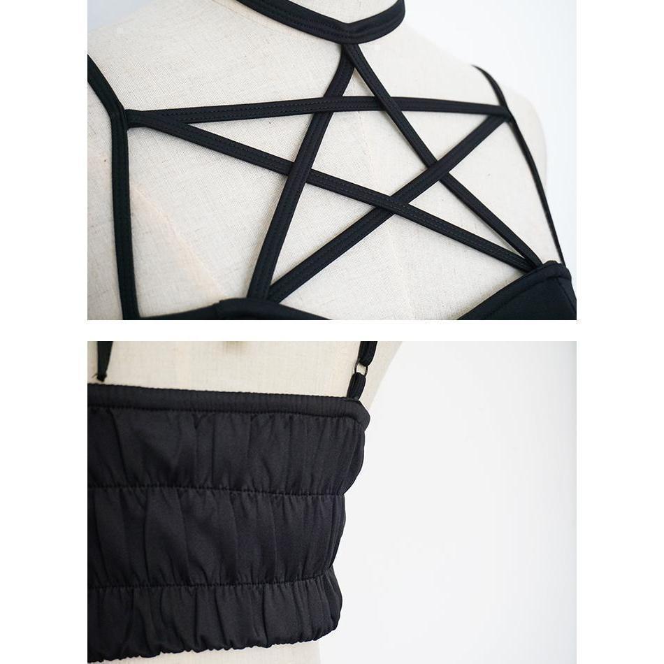 Bold Pentagram Design Sexy Crop Top - The Black Ravens