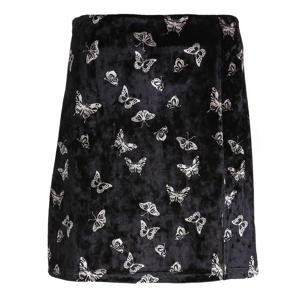 Butterfly Print Ladies Black Velvet Mini Skirt - The Black Ravens