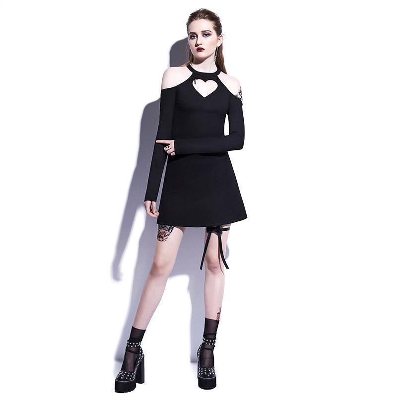 Casual Black Heart-Shaped A Line Mini Dresses - The Black Ravens
