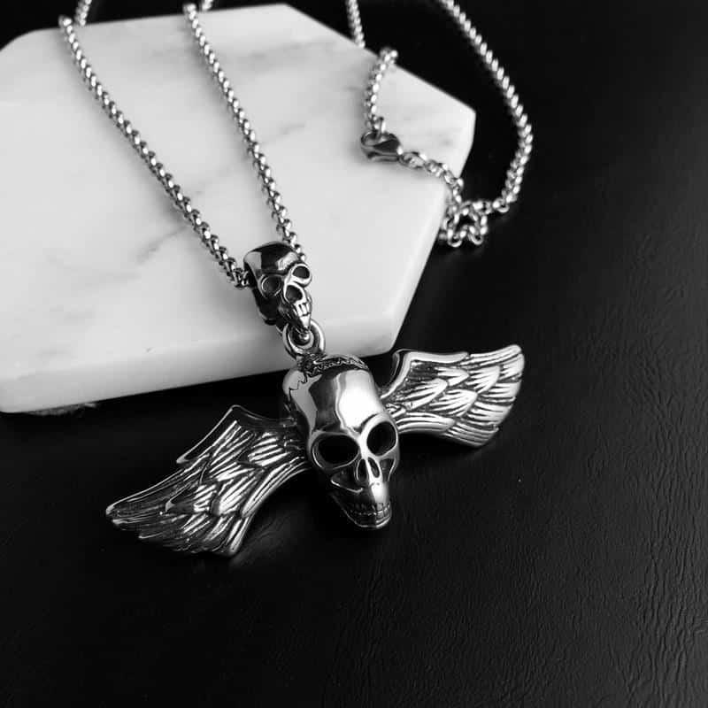 Cool Alternative Guys Skeleton Wings Pendant - The Black Ravens