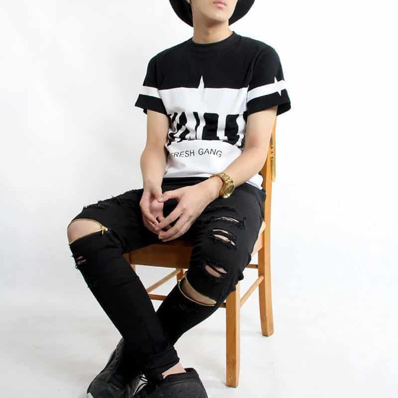 Cool Destroyed Ripped Knee Black and White Jeans For Men - The Black Ravens