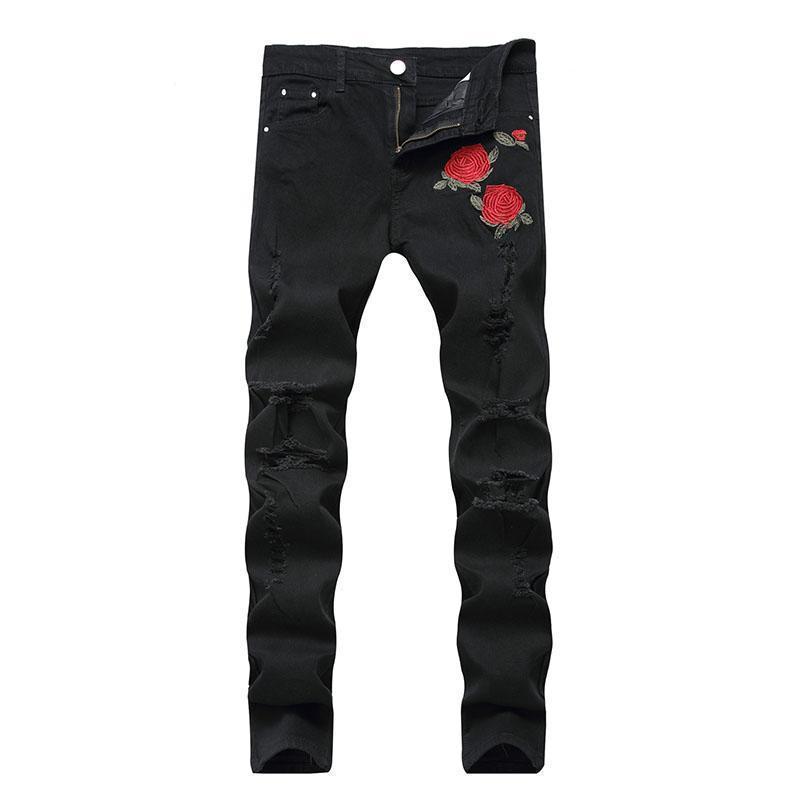 Cool Red Rose Floral Rocker Jeans - The Black Ravens
