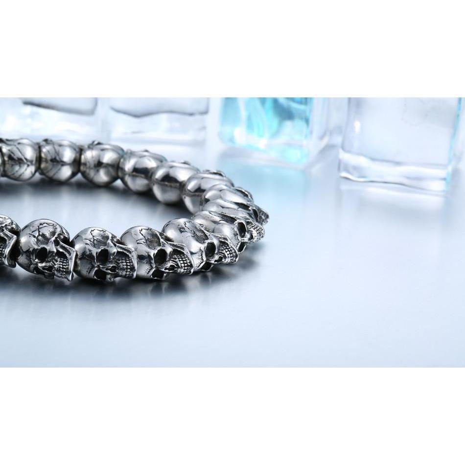 Cool Silver Bracelets Of Skulls - The Black Ravens