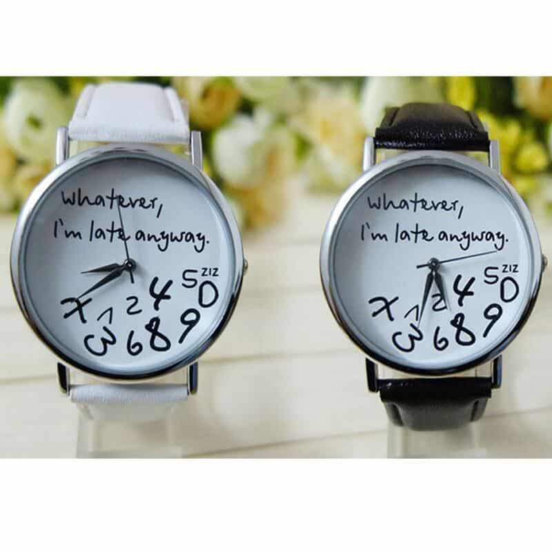 Cool Unisex 'I'm Late Anyway' Alternative Quirky Watches - The Black Ravens