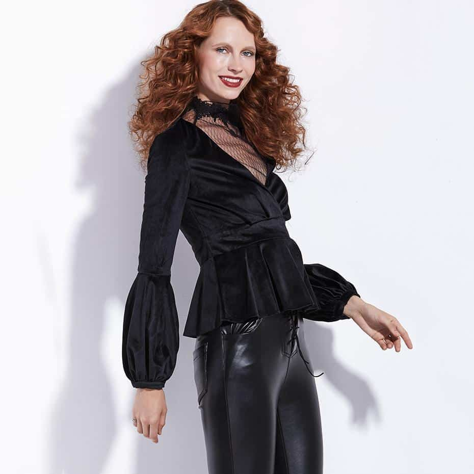 Cute Black Velvet V-Neck Jacket For Women - The Black Ravens