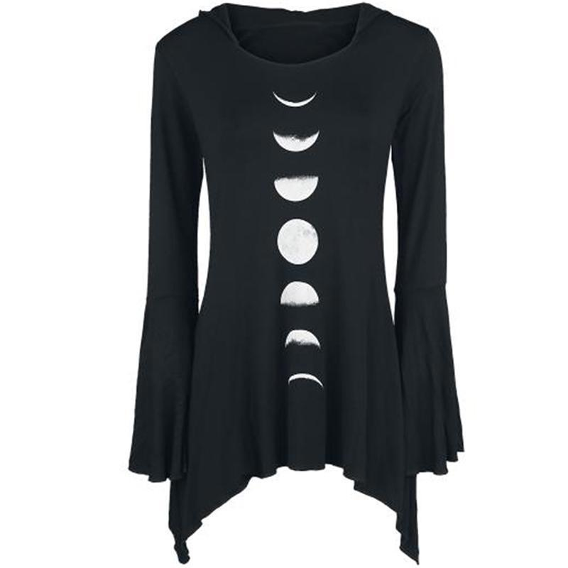 Cute Gothic Moon Phases Long Tops - The Black Ravens