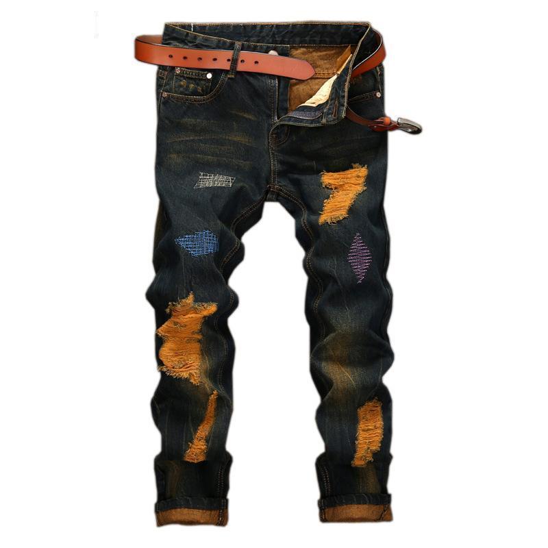 Dark Blue and Orange Retro Men's Trousers - The Black Ravens