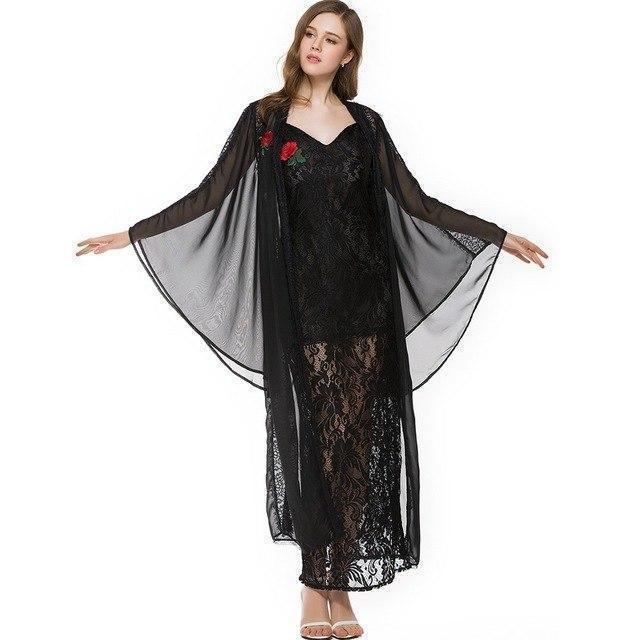 Dark Enchantress Witch Long Lace Dress - The Black Ravens