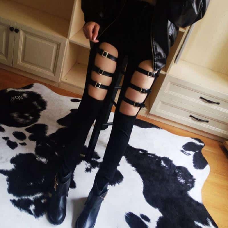 Elastic Punk Faux Leather Buckle Pants - The Black Ravens