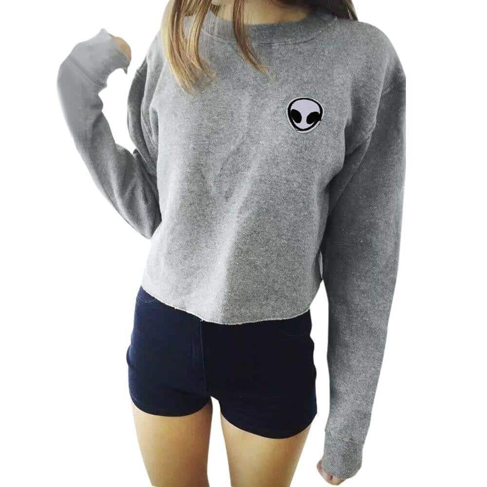 Extraterrestrial Soft Grey and Black Women's Top - The Black Ravens