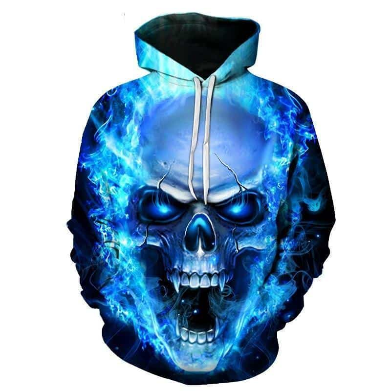 Flaming Blue Vampire Skull Hoodie - The Black Ravens