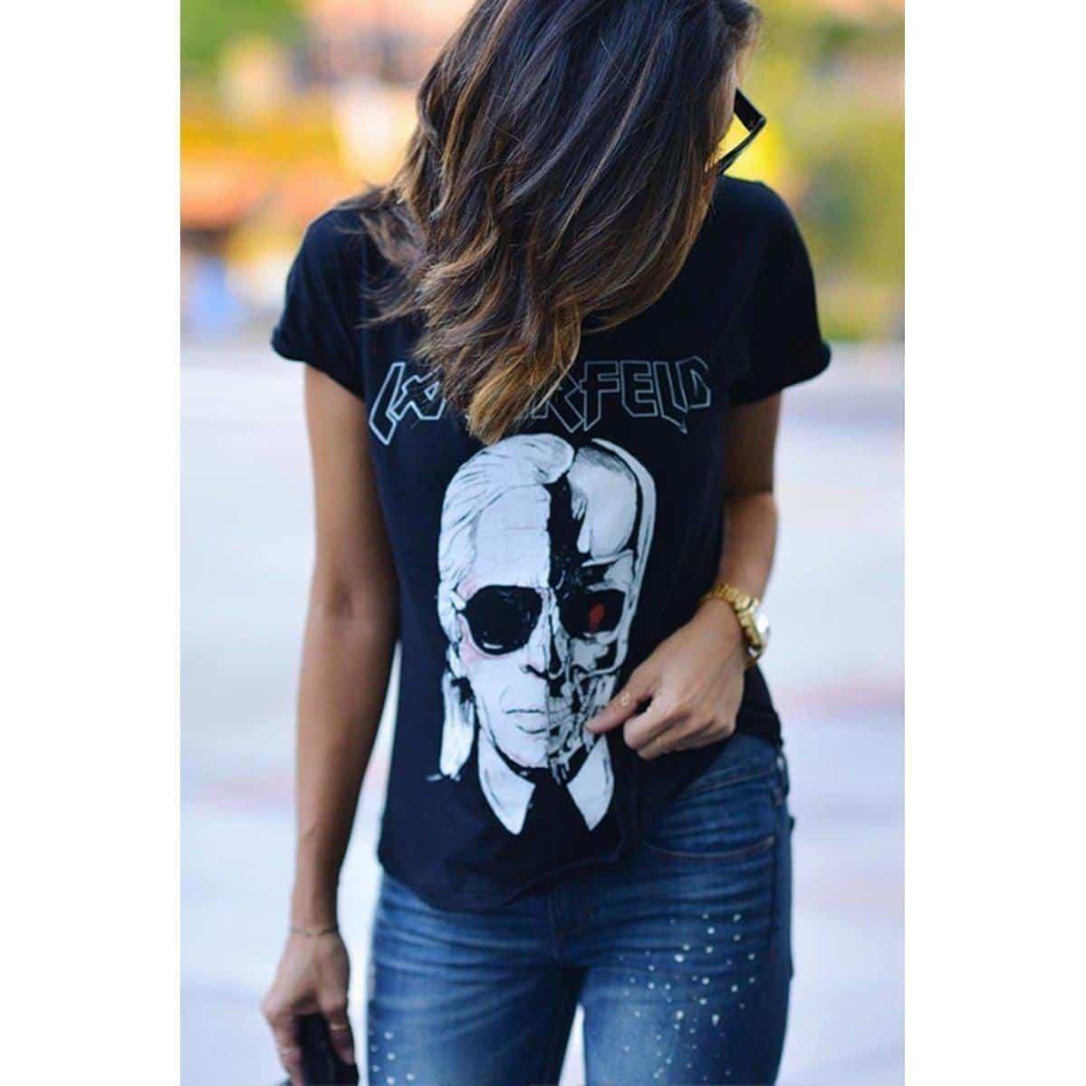 Girls Short Sleeve Rotting Lagerfeld Tee - The Black Ravens