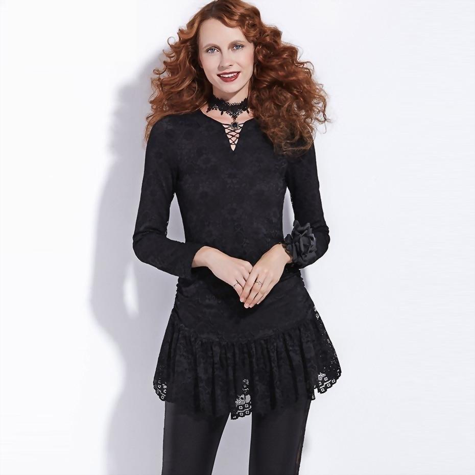 Gothic Black Lace Blouse For Women Autumn - The Black Ravens