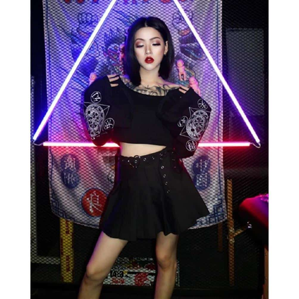 Gothic Full Sleeve Sexy Crop Top - The Black Ravens