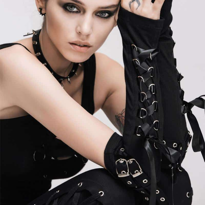 Gothic Girl's Lace Up Buckled Gloves - The Black Ravens