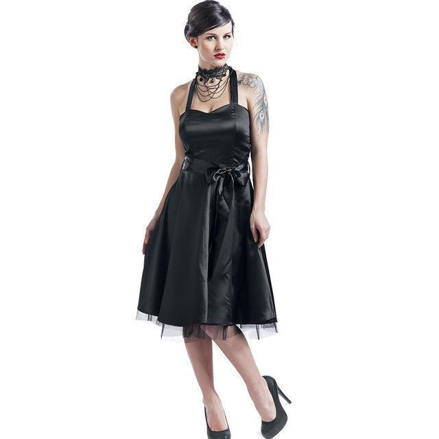 Gothic Halter Bowknot Party Dress - The Black Ravens