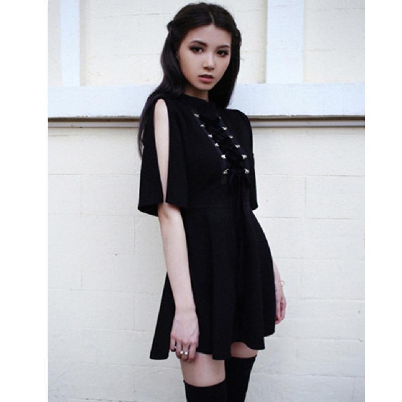 Gothic Lace Up Chest Vintage Dress - The Black Ravens