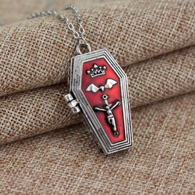 Gothic Red Coffin Locket Necklace - The Black Ravens