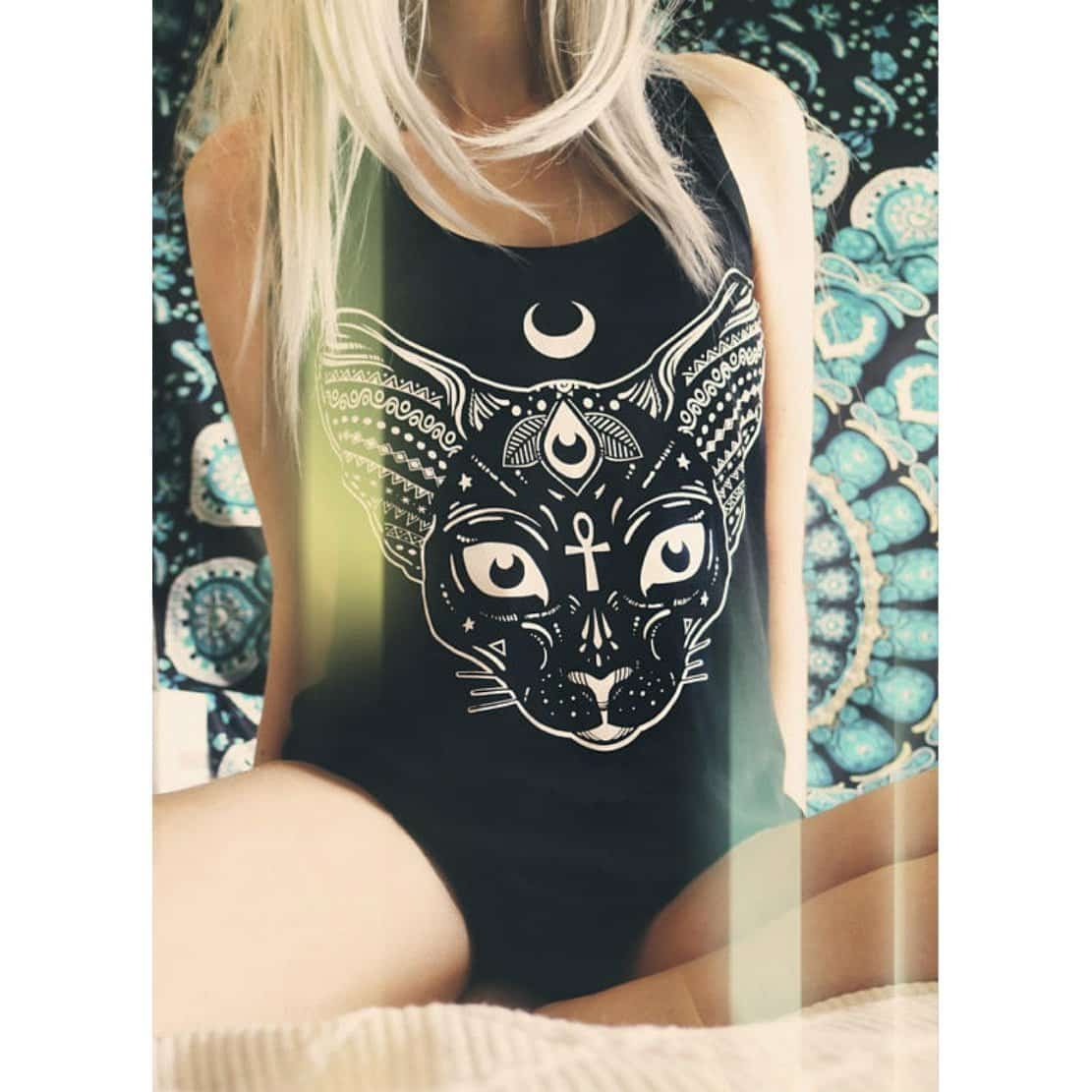 Gothic Wiccan Cat Summer Tees - The Black Ravens