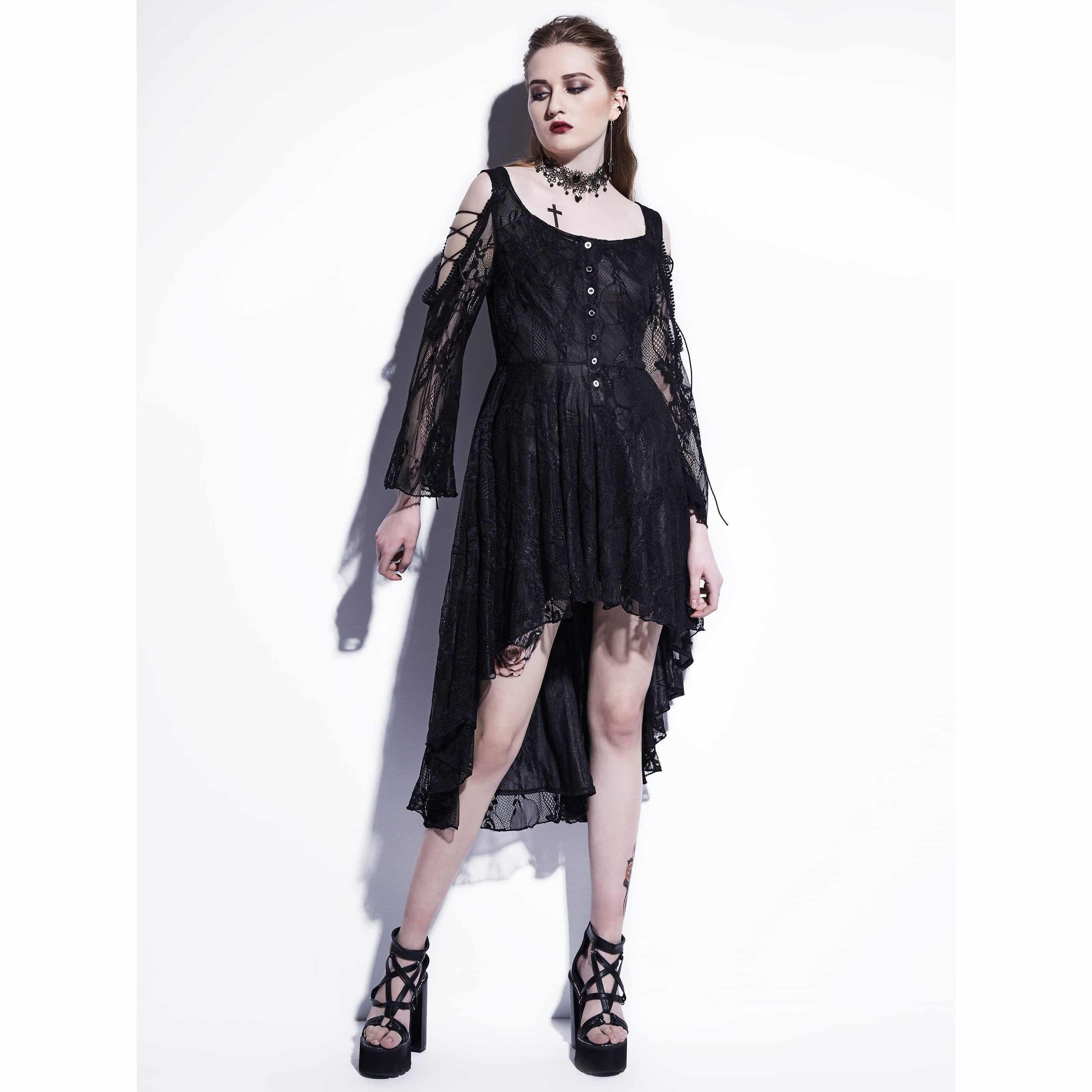Hot Asymmetrical Witches Black Lace Dress In Black and White - The Black Ravens