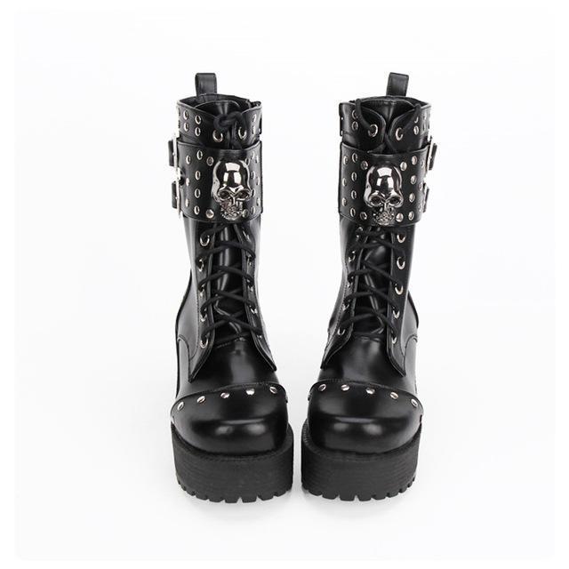 Hot Gothic Rivet Lolita Boots - The Black Ravens