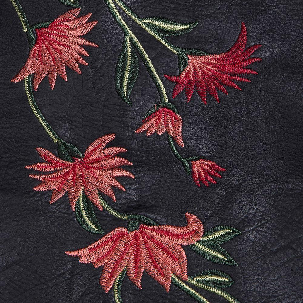 Hot Red Flower Embroidery Leather Mini Skirt - The Black Ravens