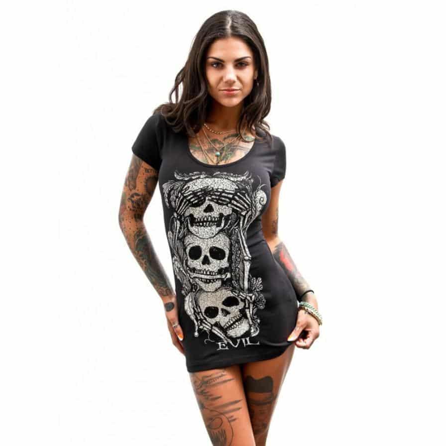 Hot Short See No Evil Skull Dresses - The Black Ravens