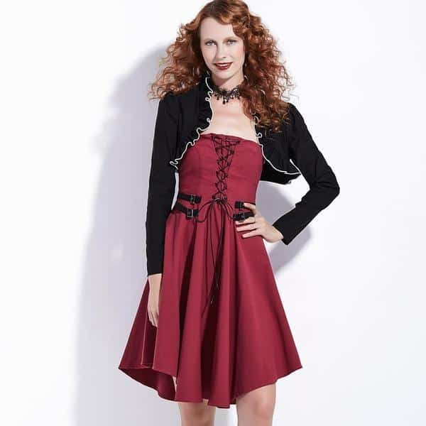 Lace-Up Red Dress and Vest Wear - The Black Ravens