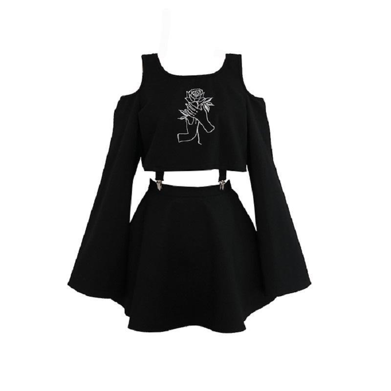 Ladies Gothic Buckle Connect Top and Skirt Set - The Black Ravens