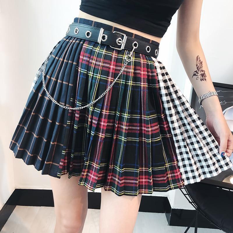 Ladies Punk Pleated Mini Skirt - The Black Ravens