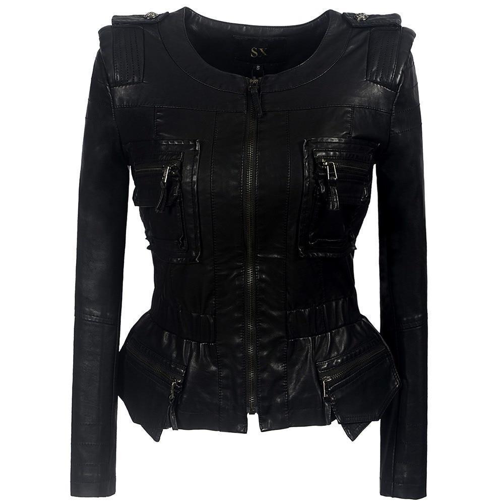 Ladies Zippered Faux Leather Coat - The Black Ravens